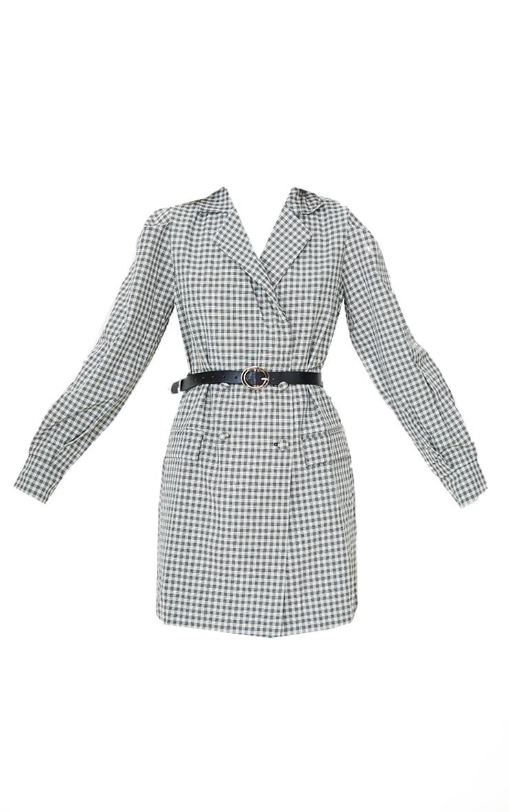 Beige Check Print Belted Blazer Dress 5