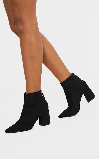 Black Curved Block Heel Ankle Boot