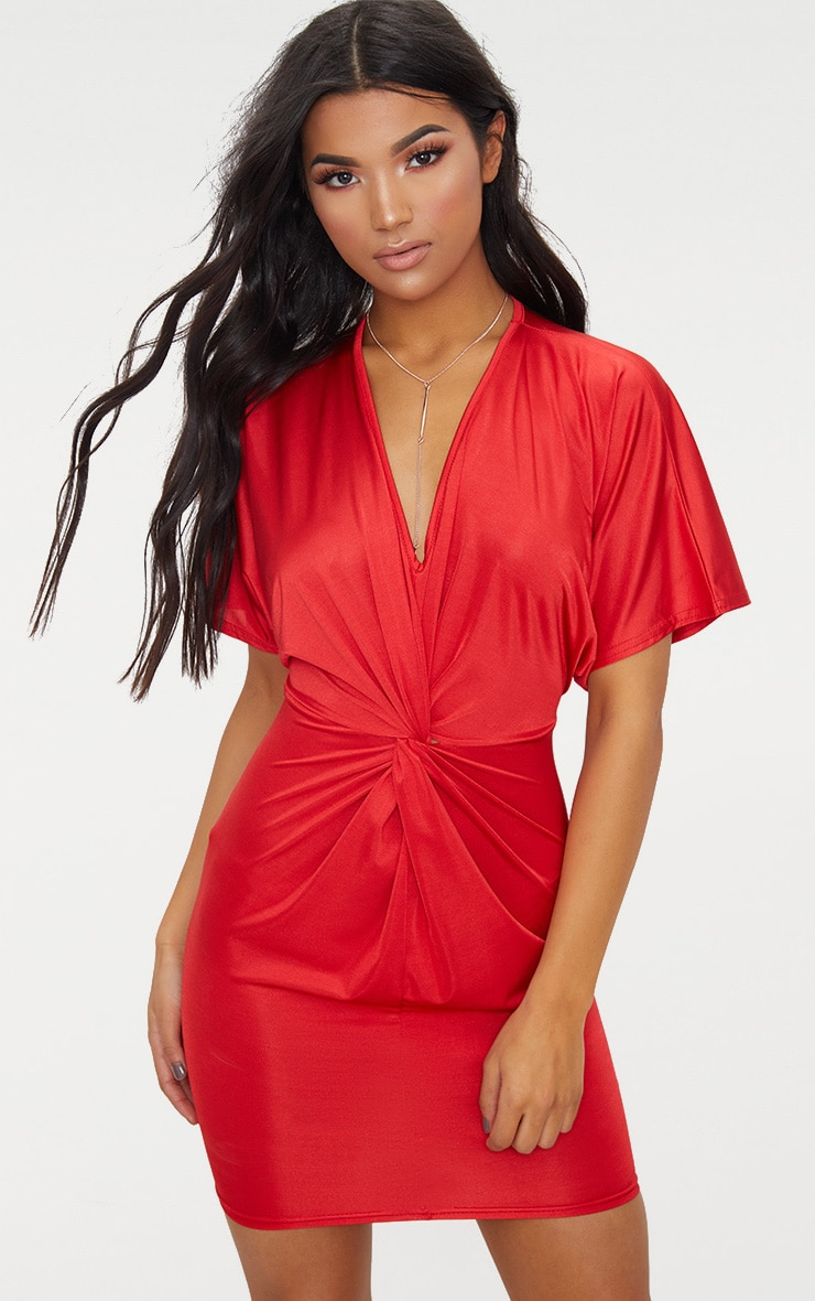 Red Batwing Knot Detail Bodycon Dress 1