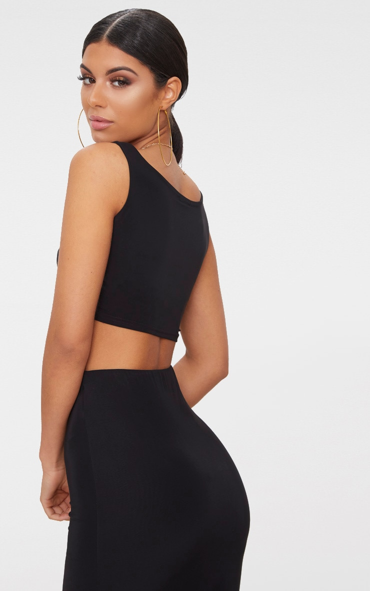 Black Slinky Square Neck Sleeveless Crop Top  3