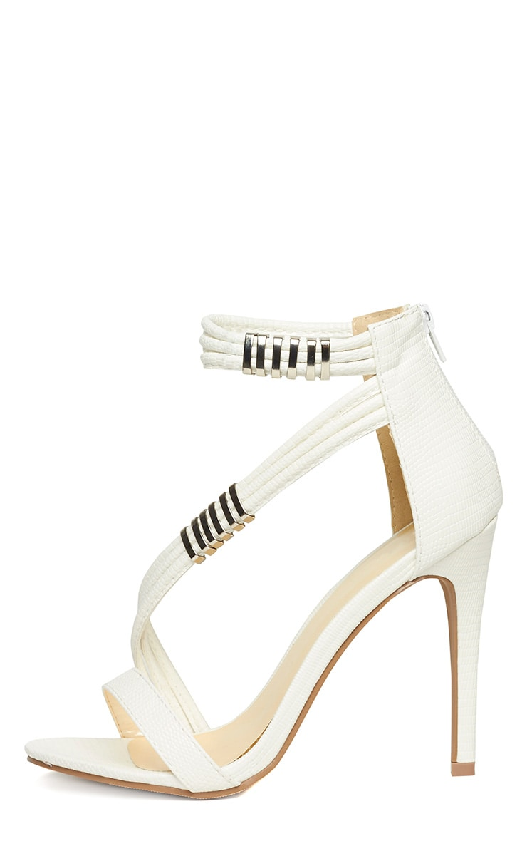 Riley White Cross Strap Heeled Sandals 6