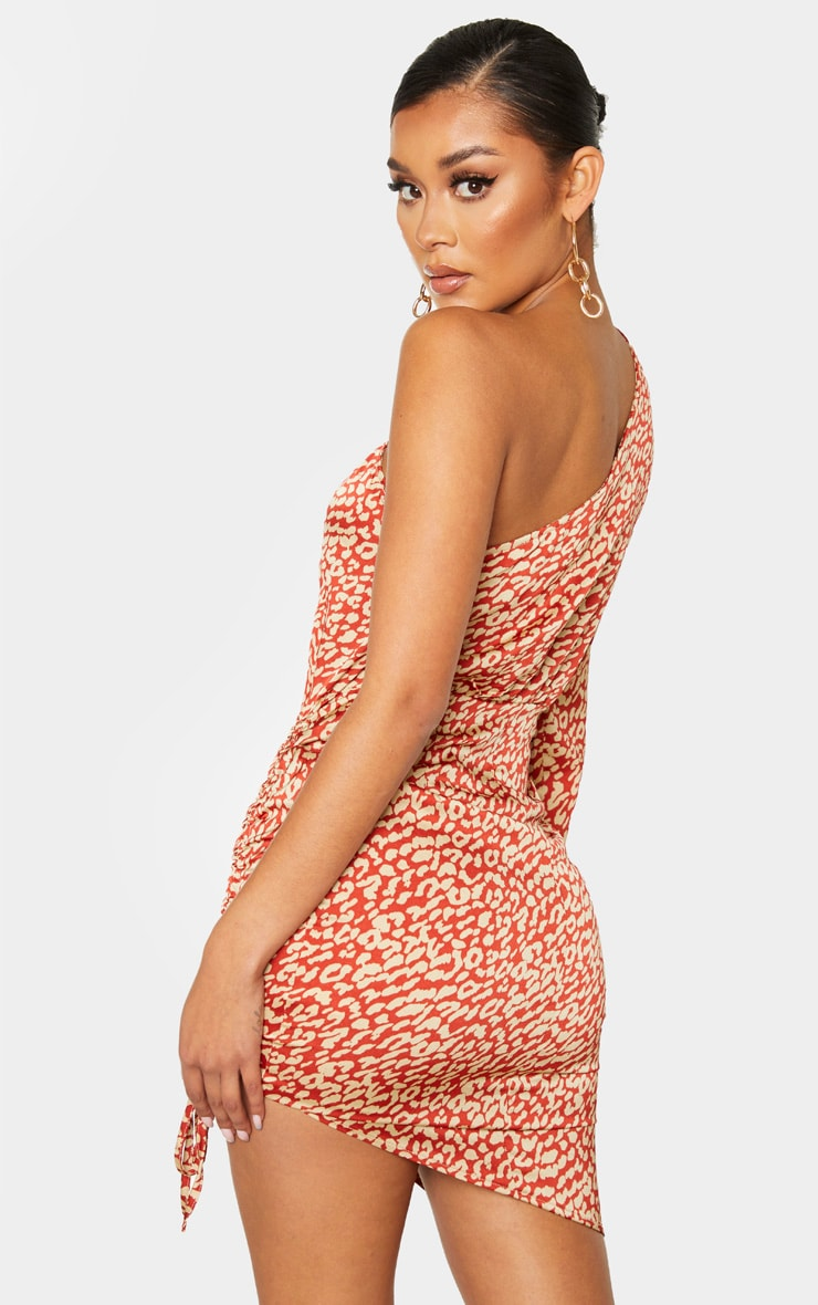 Orange Leopard Print One Shoulder Ruched Satin Bodycon Dress 2