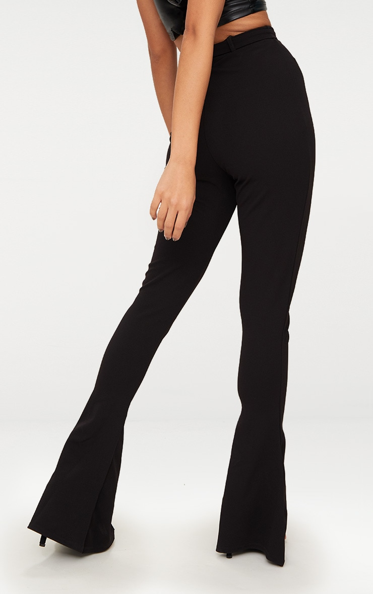 Petite Black Flared Belted Trousers 3