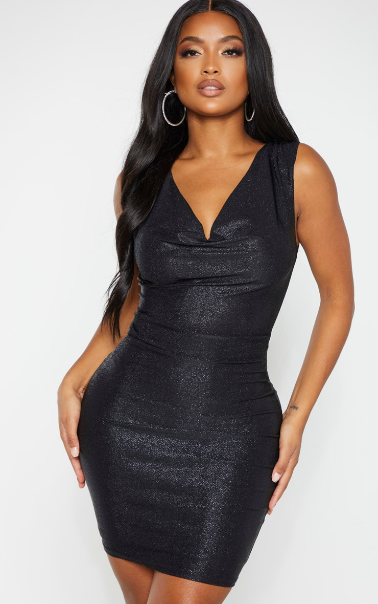Shape Black Glitter Cowl Neck Bodycon Dress 1
