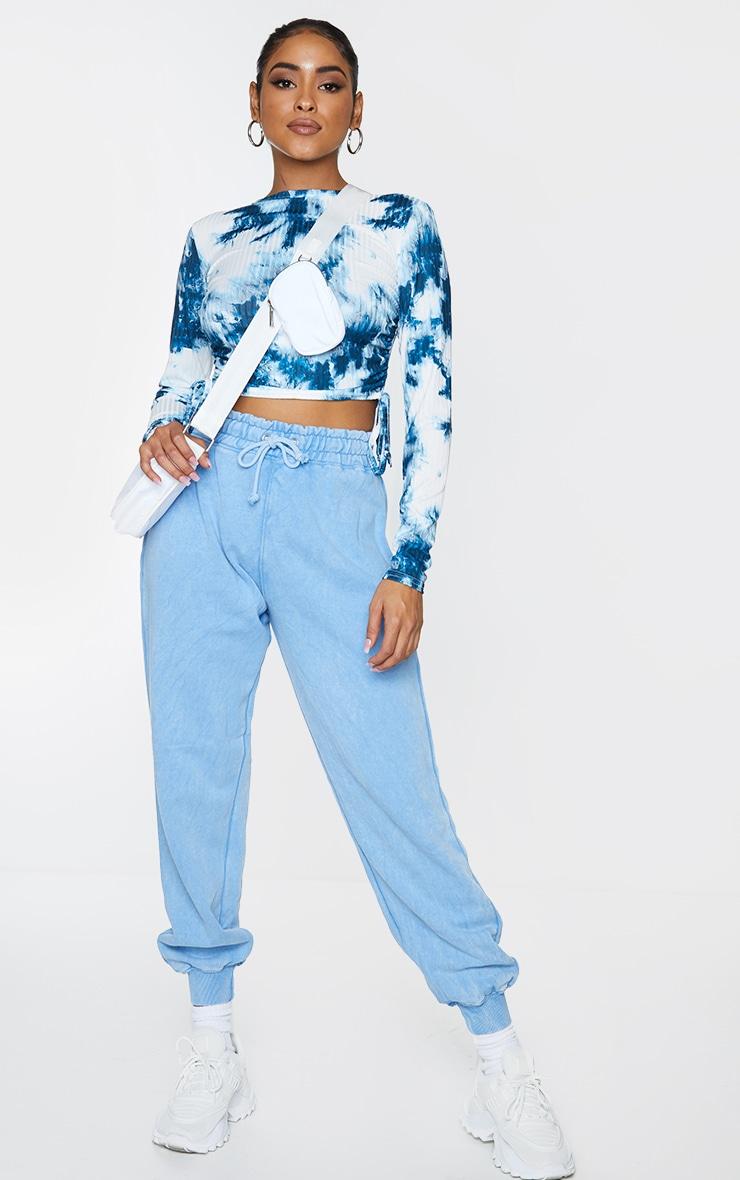 Blue Rib Tie Dye Printed Ruched Side Long Sleeve Crop Top 3