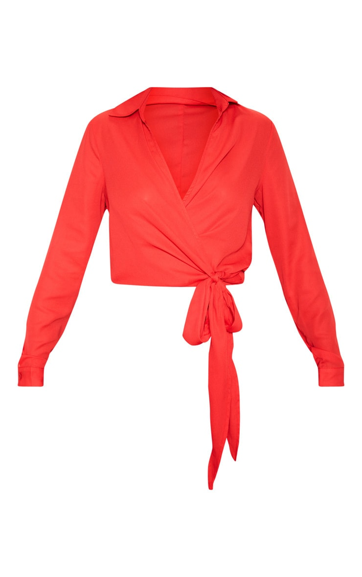 Red Wrap Front Tie Side Blouse 3