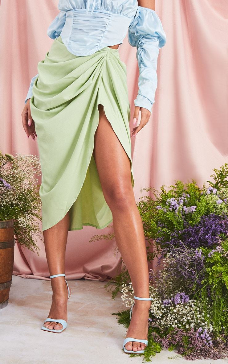Sage Ruched Side Midi Skirt 2