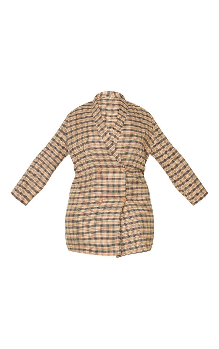 Plus Beige Check Oversized Blazer Dress 3