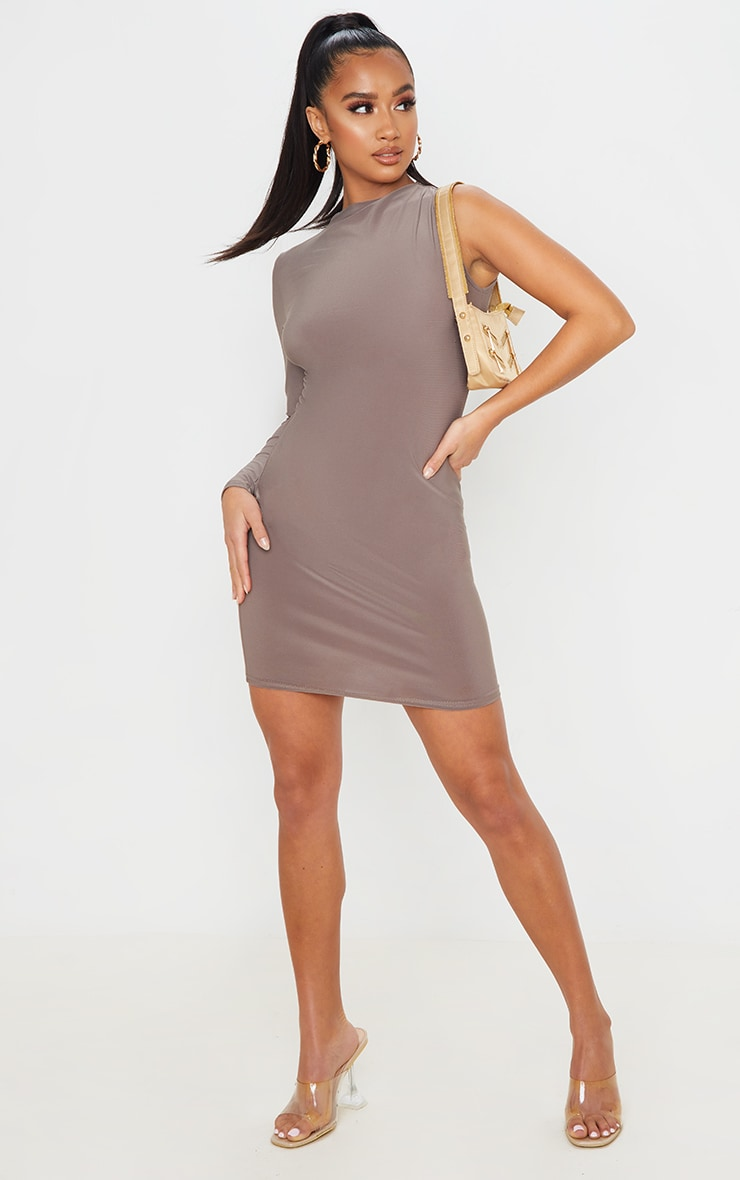 Petite Mocha One Shoulder Long Sleeve Bodycon Dress 4