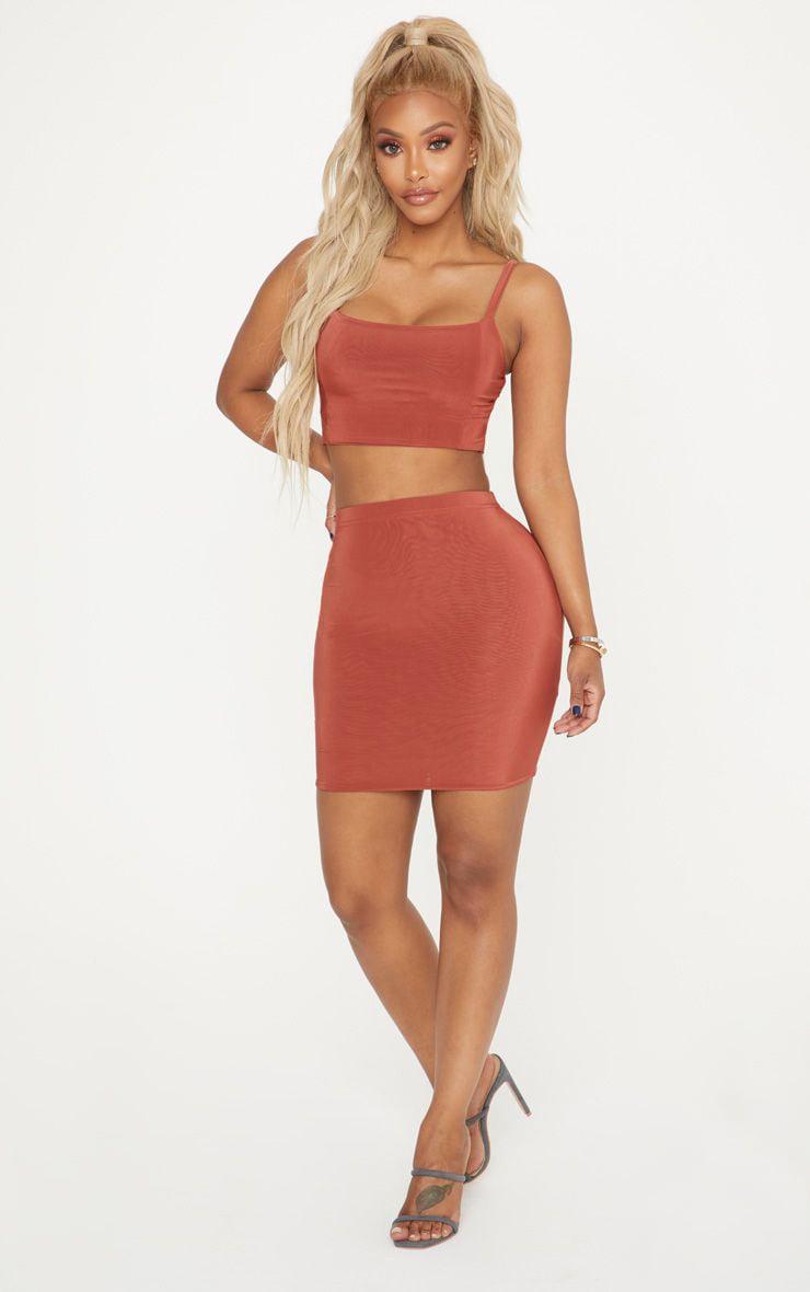Shape Rust Slinky Mini Skirt 1