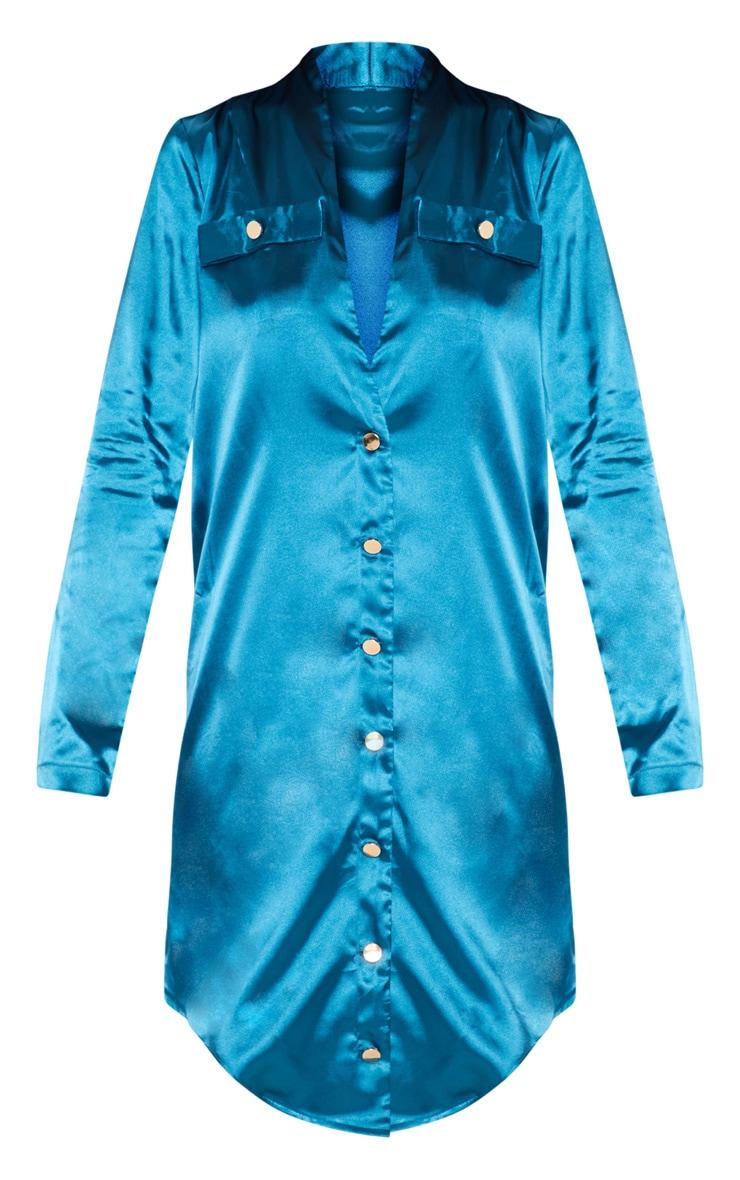 Teal Satin Button Detail Shirt Dress 3