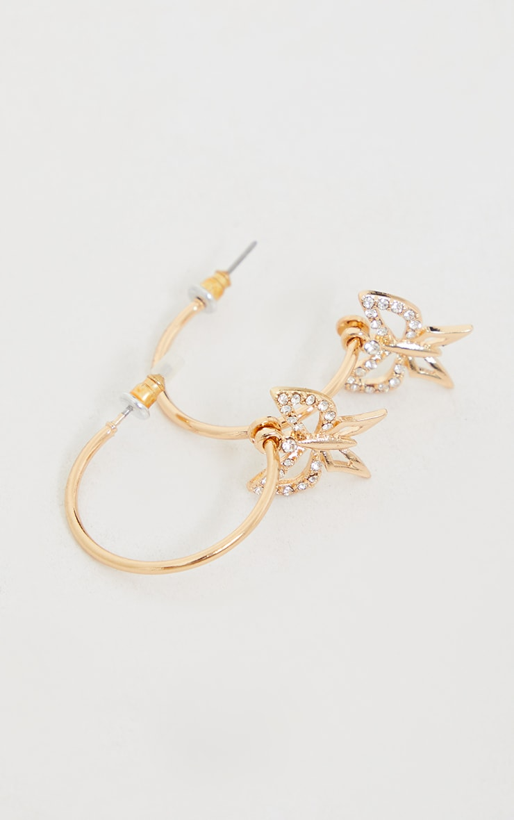 Gold Diamante Dainty Cut Out Butterfly Hoop Earrings 3