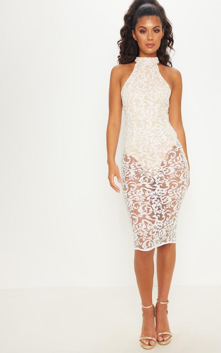 Nude High Neck Glitter Midi Dress