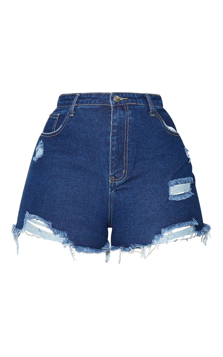 Plus Dark Blue Wash Distressed Detail Denim Mom Shorts 6