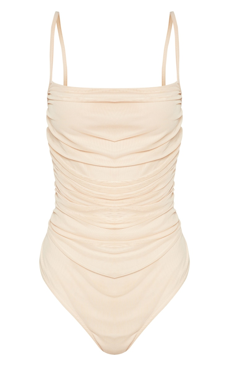 Nude Mesh Ruched Detail Bodysuit 3