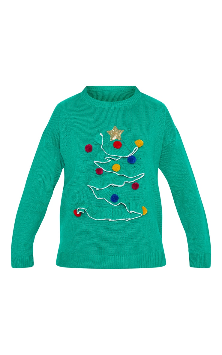 Green Christmas Tree Knitted Sweater 3