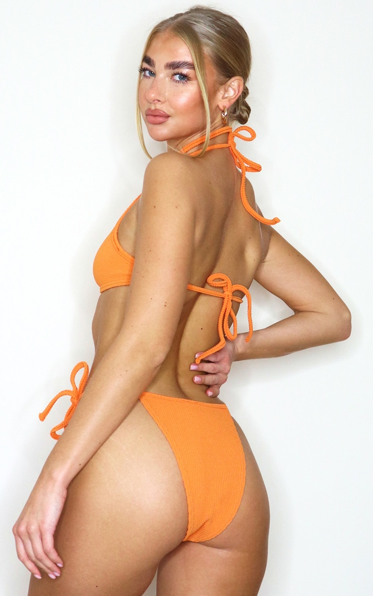 Orange Crinkle Ring Bikini Top 2