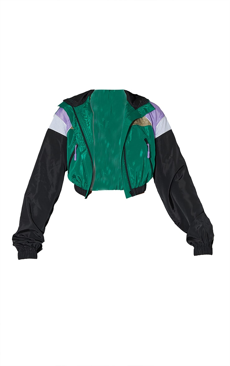 Green Colourblock Shell Zip Through Jacket 5