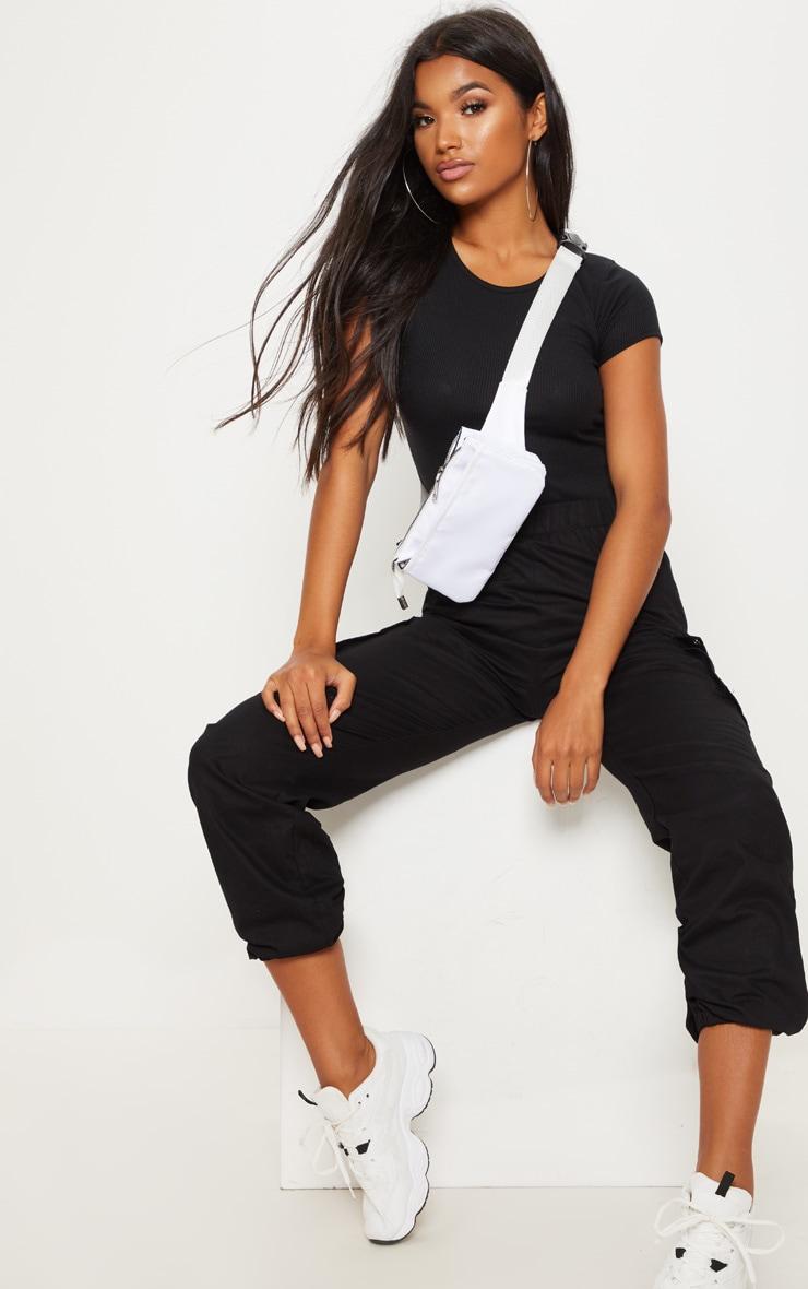 Black Rib Short Sleeve T Shirt 1