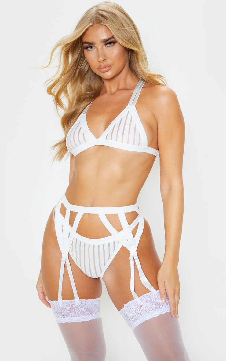 White Stripe Mesh Thong 2
