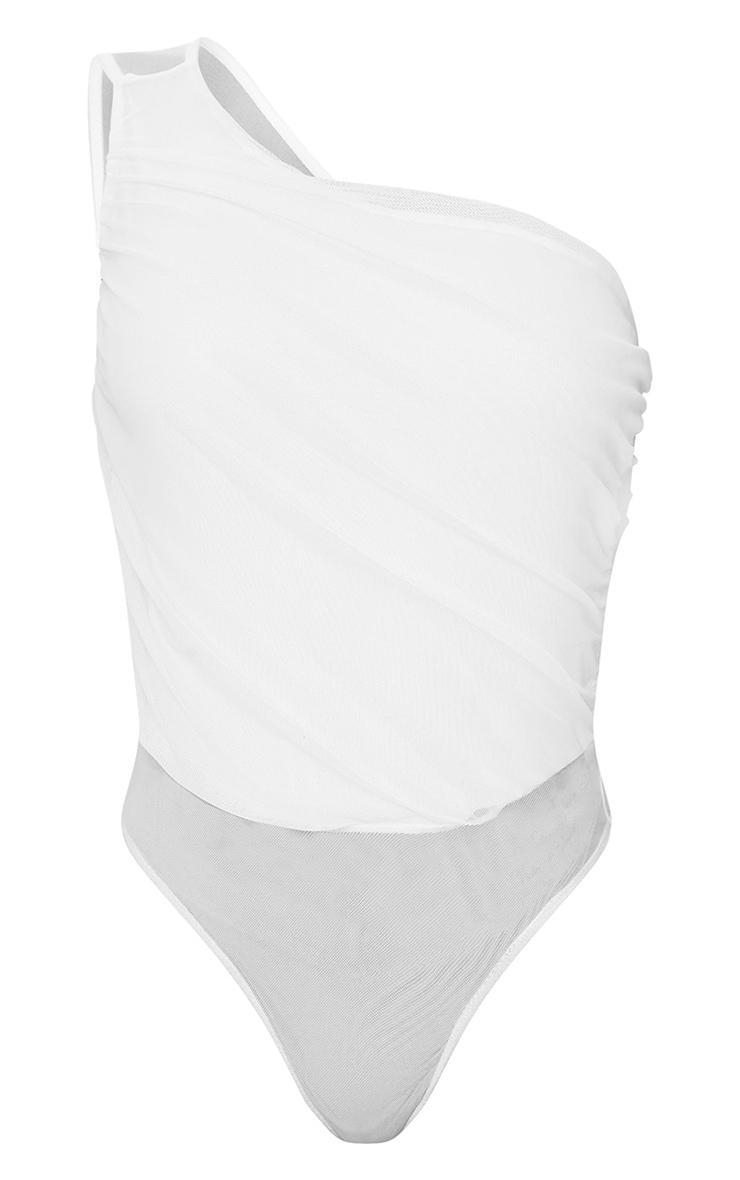 Cream Slinky Ruched One Shoulder Bodysuit 5
