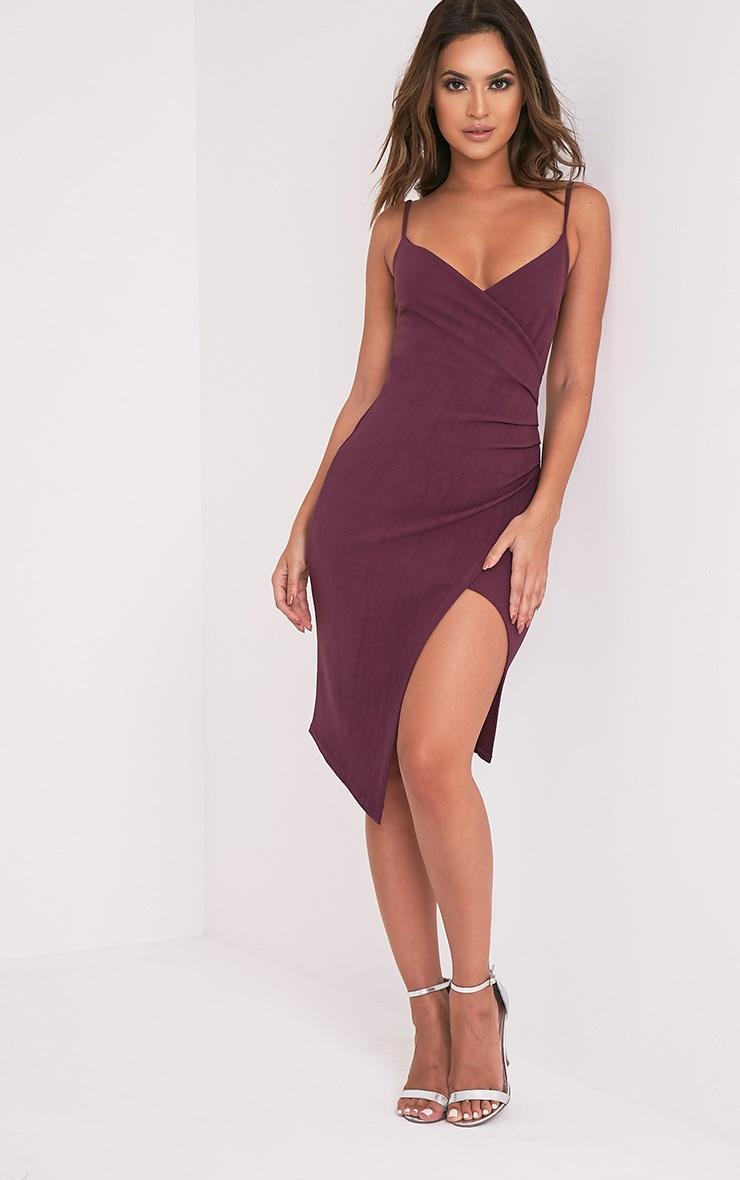 Aubergine Wrap Front Crepe Midi Dress 5