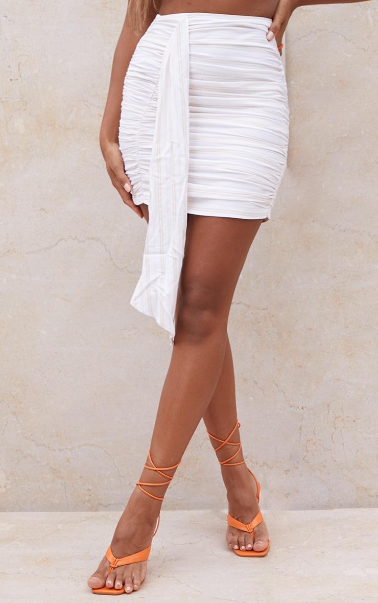 Stone Stripe Ruched Drape Front Mini Skirt 2