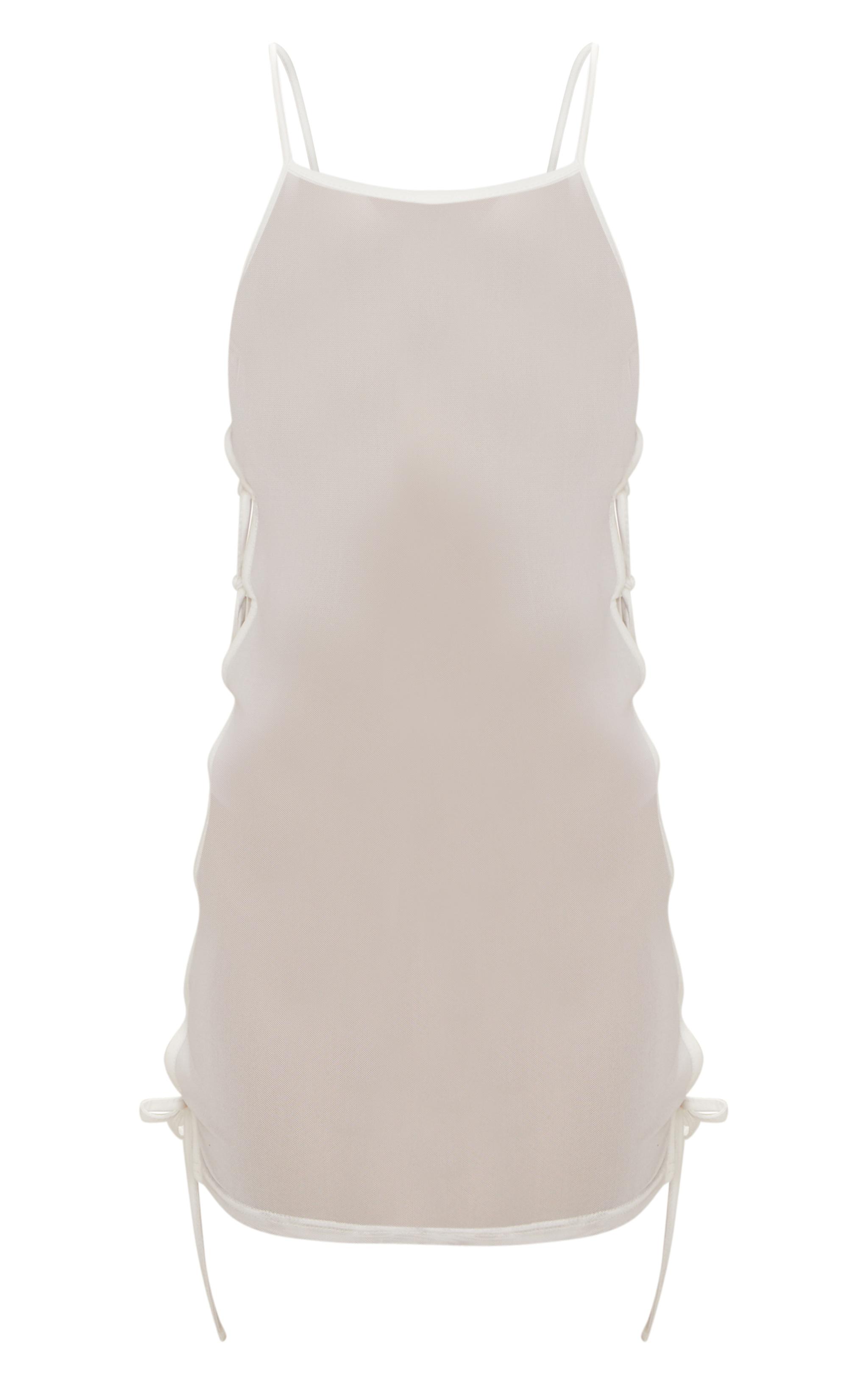 White Mesh Lace Up Side Beach Dress 3