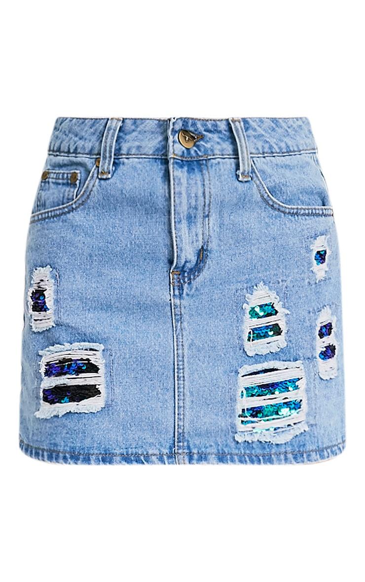 Ari Sequin Distress Mini Skirt 3