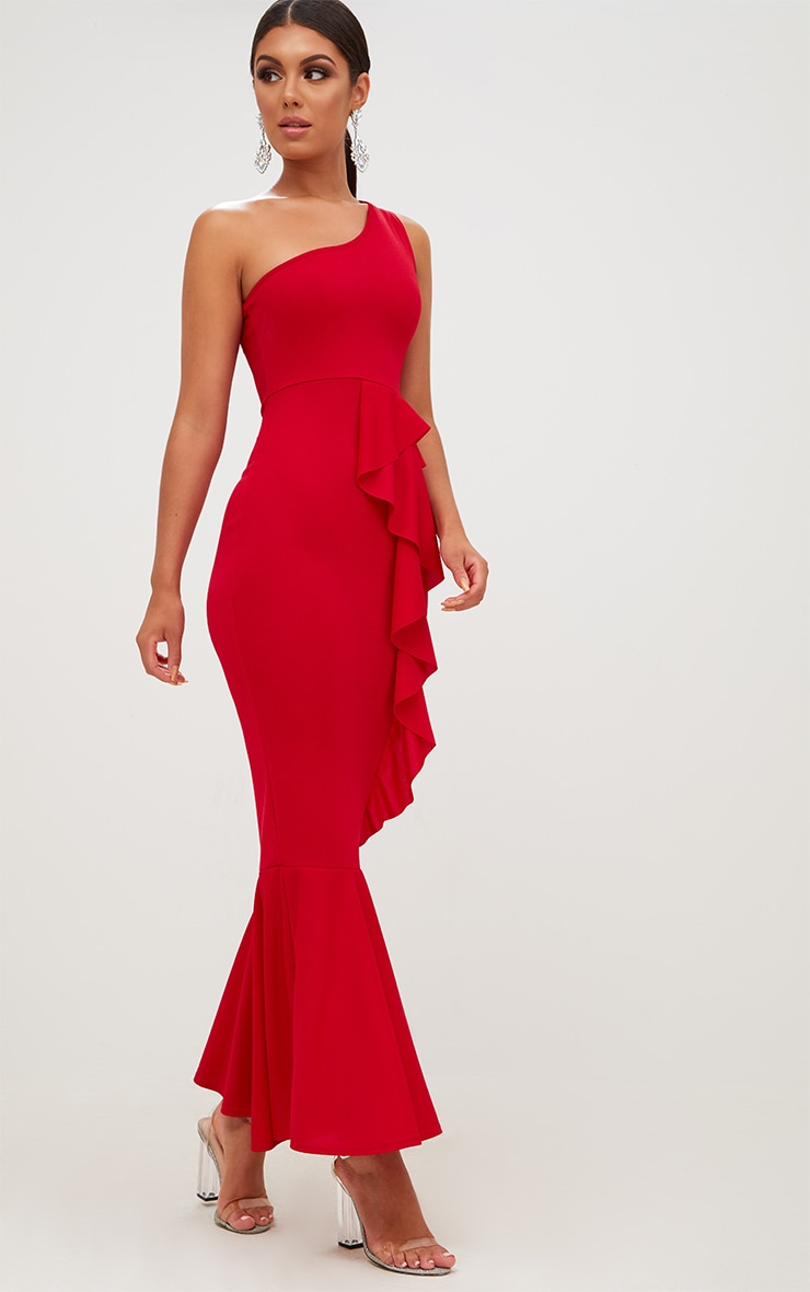 Red Ruffle Detail One Shoulder Midaxi Dress 4