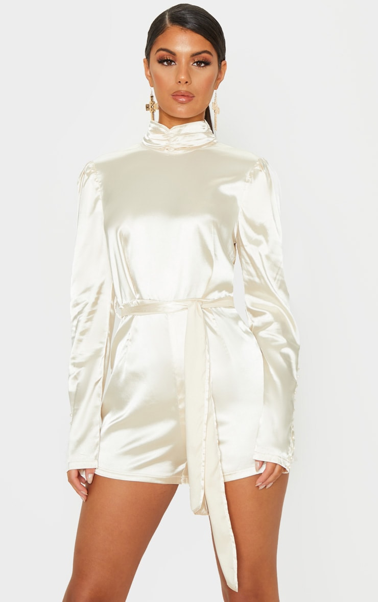 Champagne High Neck Open Back Satin Playsuit 2