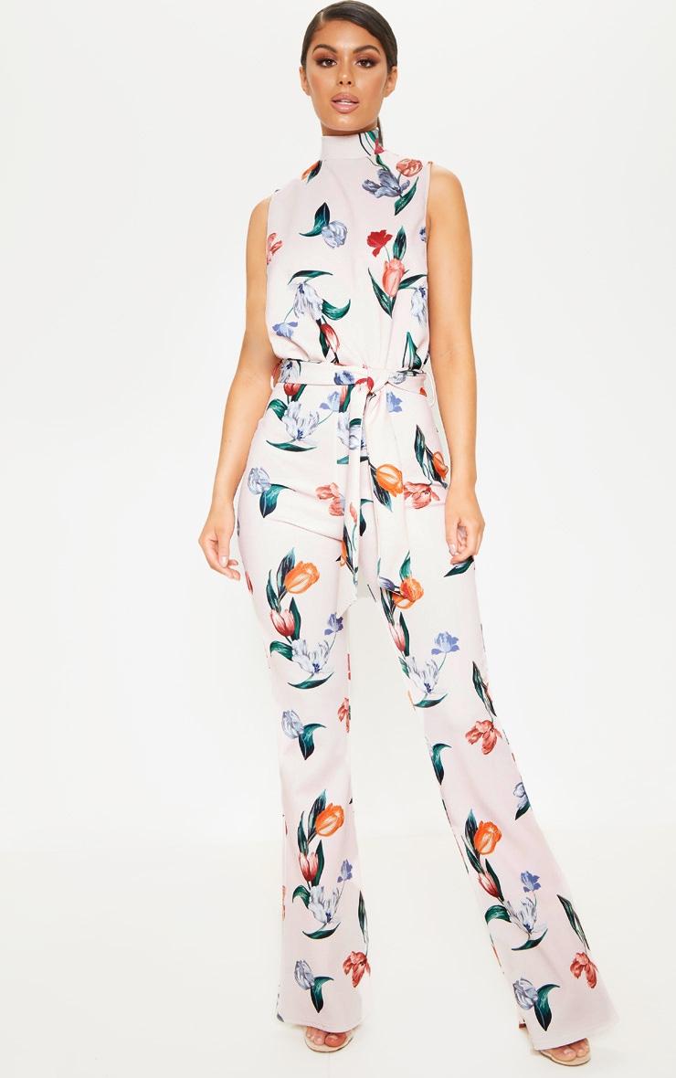 100% quality quarantee quite nice half off Pink Floral Print Scuba High Neck Tie Waist Jumpsuit