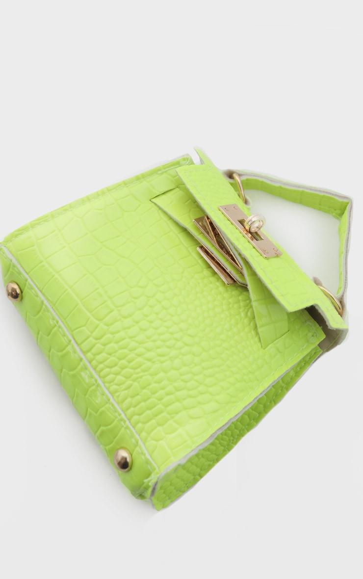 Mini-sac vert citron fluo effet croco 3