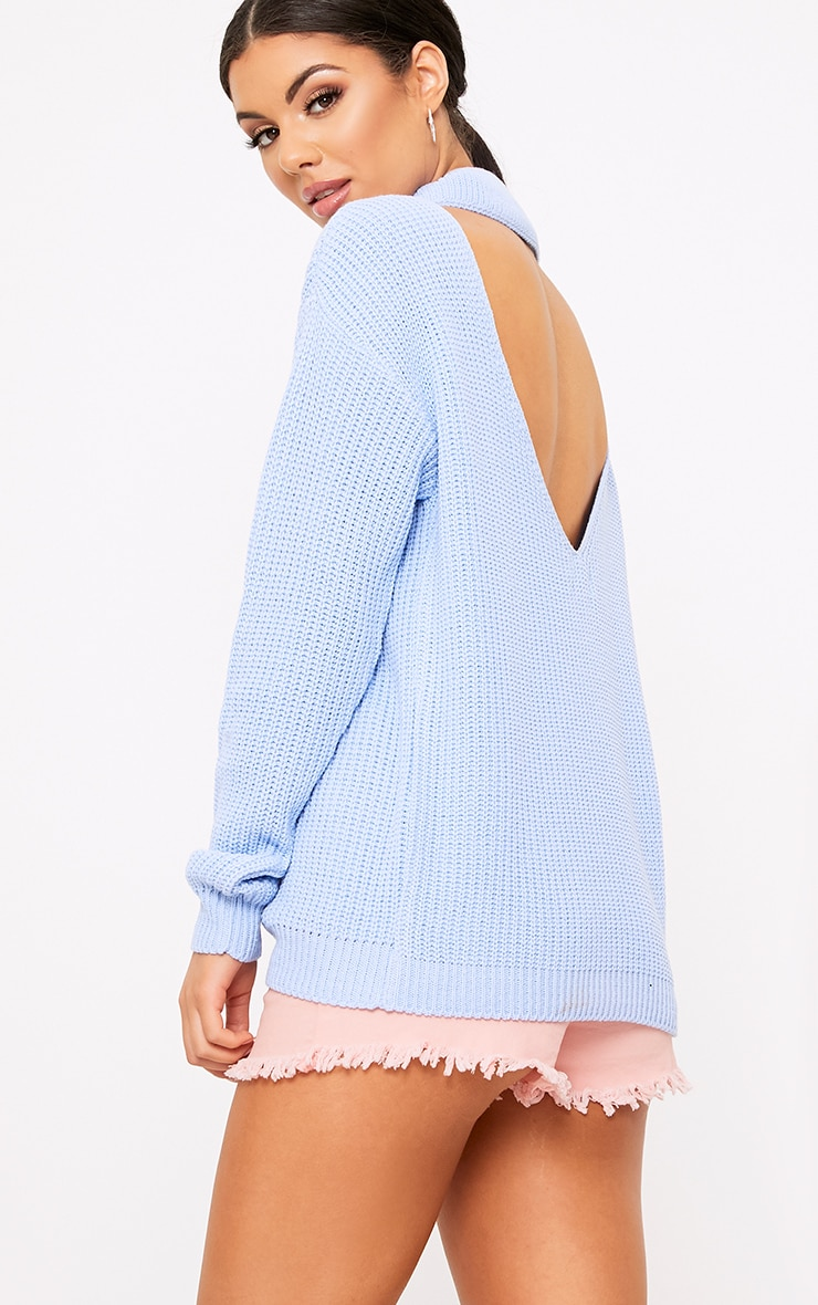 Shawnette Blue Cut Out Back Knitted Jumper 1