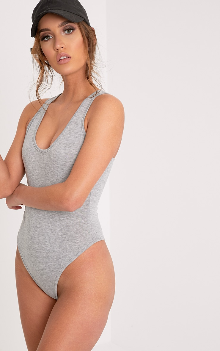 Basic Grey Racer Back Bodysuit 2