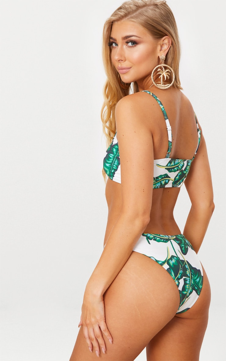 Green Palm Print Low Scoop Neck Bikini Top 2