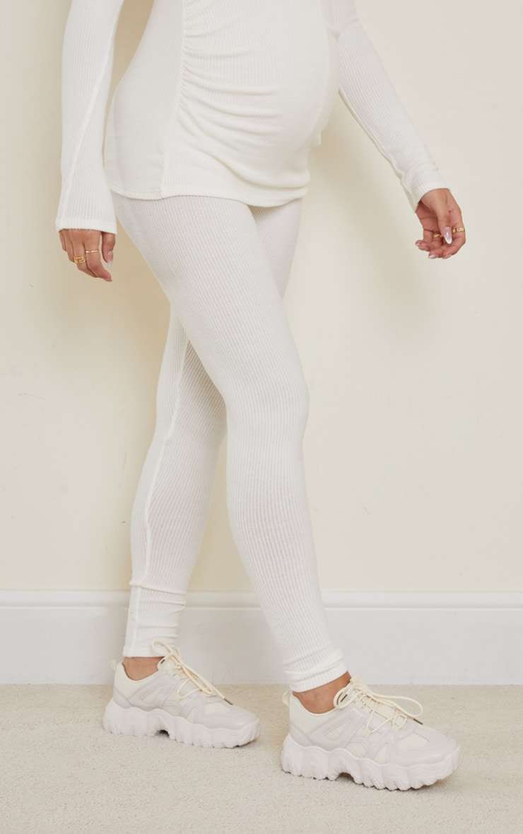 Maternity Cream Ruched Brushed Leggings 2