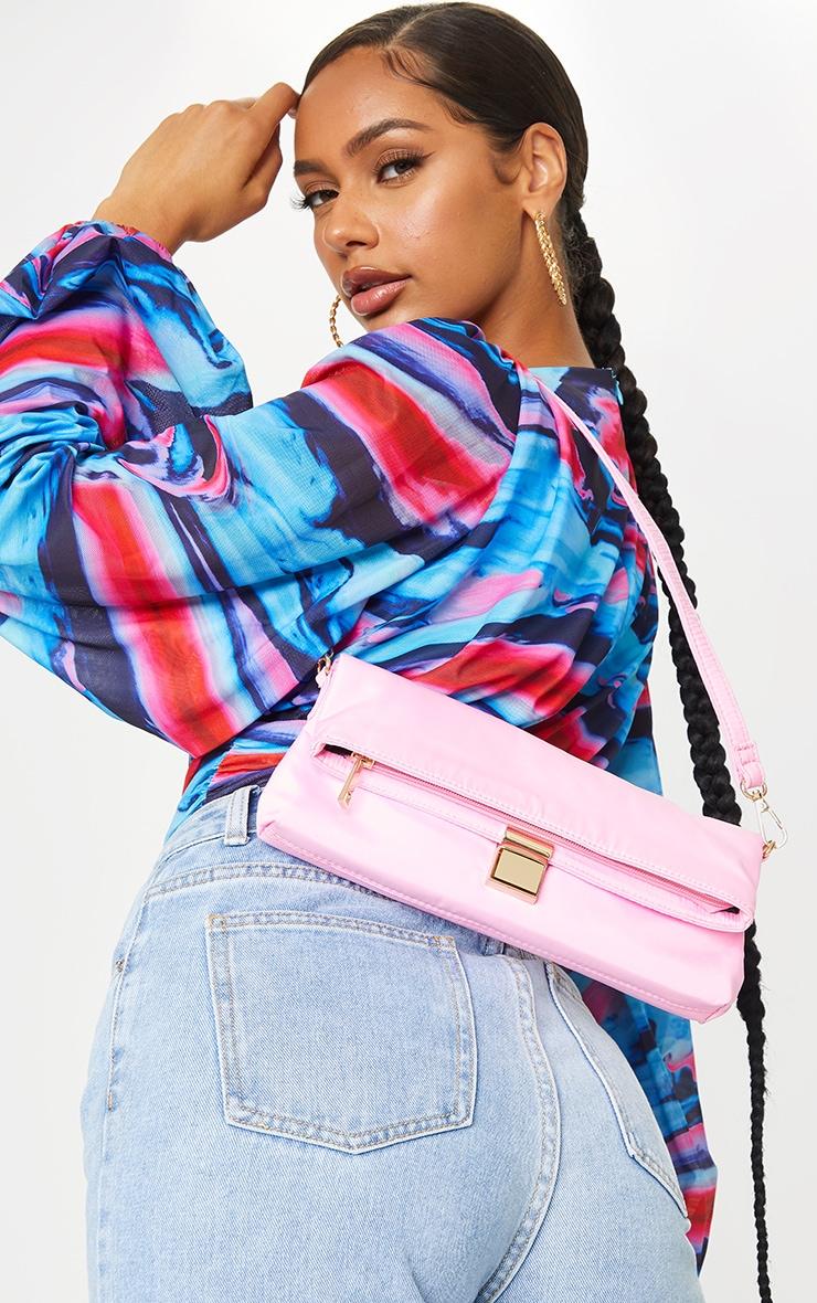 Pink Nylon Lock Shoulder Bag 1