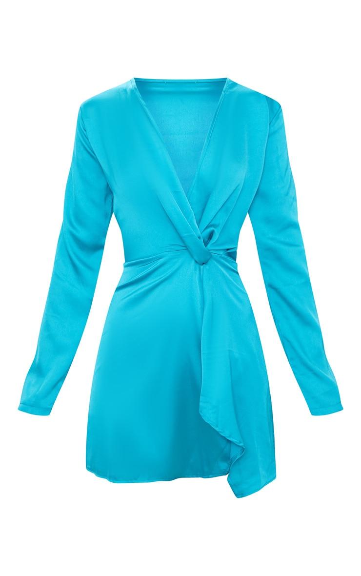 Teal Satin Long Sleeve Wrap Dress 3