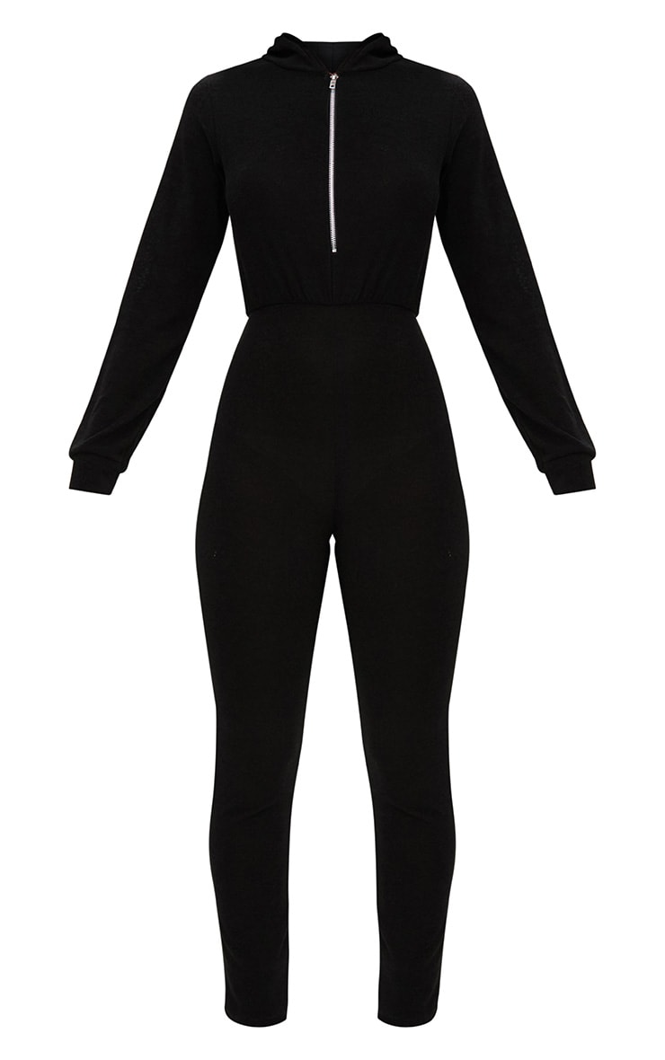Black Hooded Zip through Jumpsuit 3