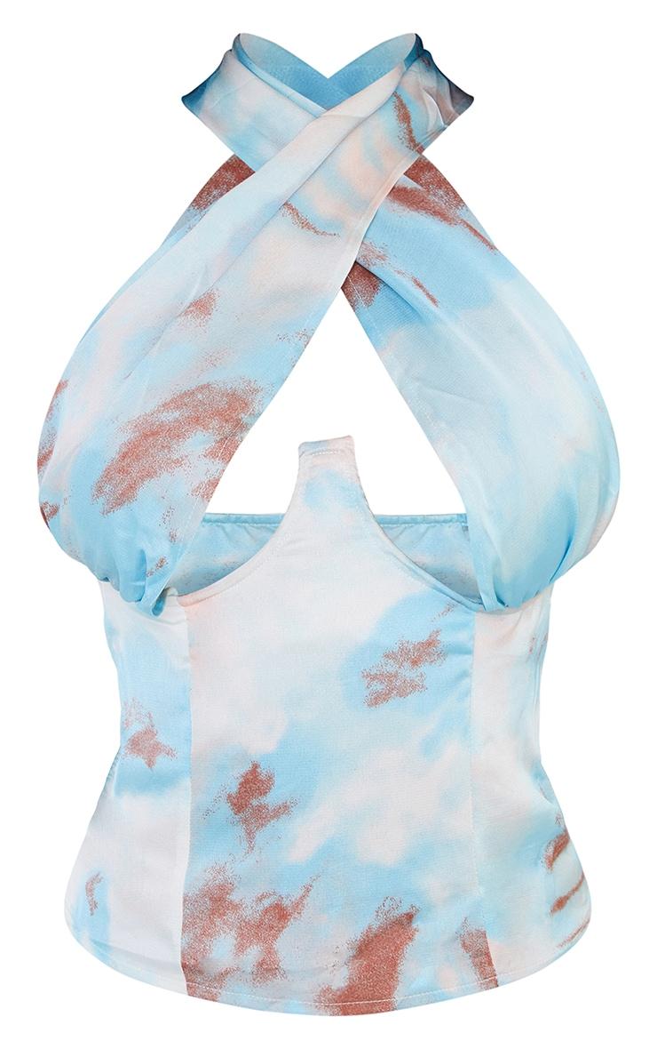 Blue Tie Dye Cross Over Zip Top 5