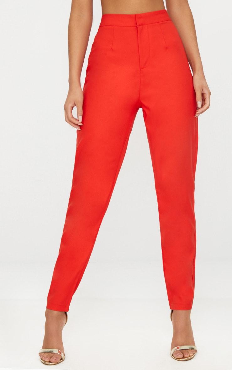 Pantalon cintré droit rouge 2