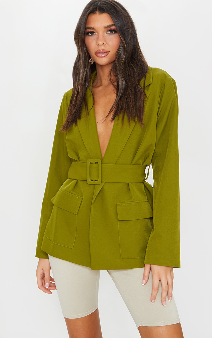 Sage Green Covered Buckle Belted Woven Blazer 1