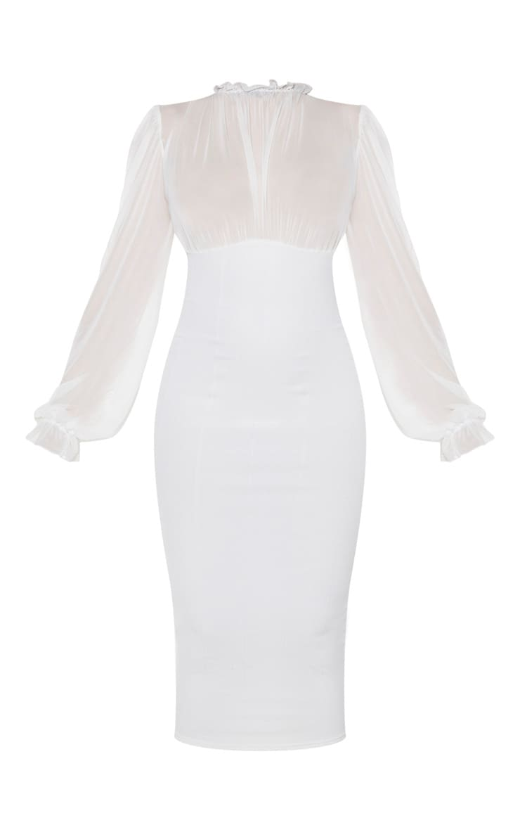 Cream Bandage Mesh Bodice High Neck Midi Dress 5