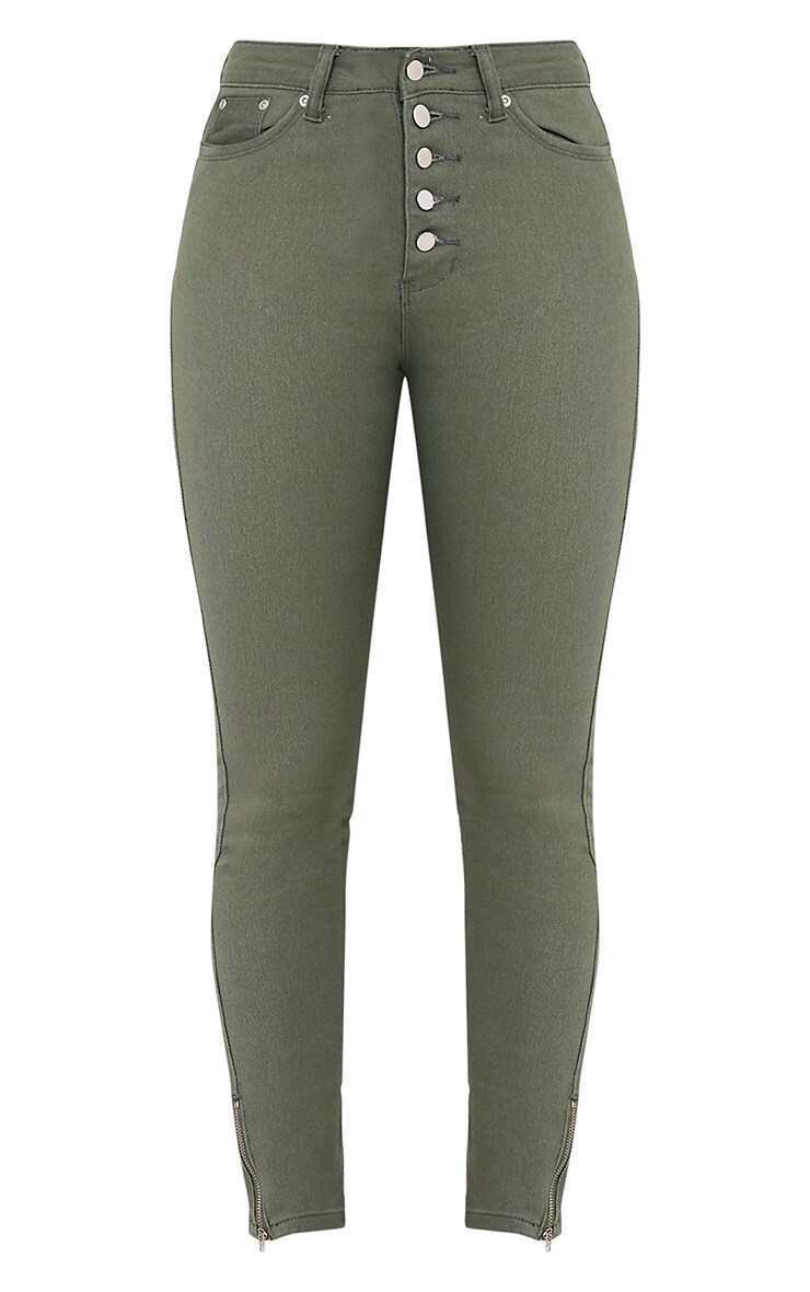 Khloe jean skinny kaki taille haute à boutons 3