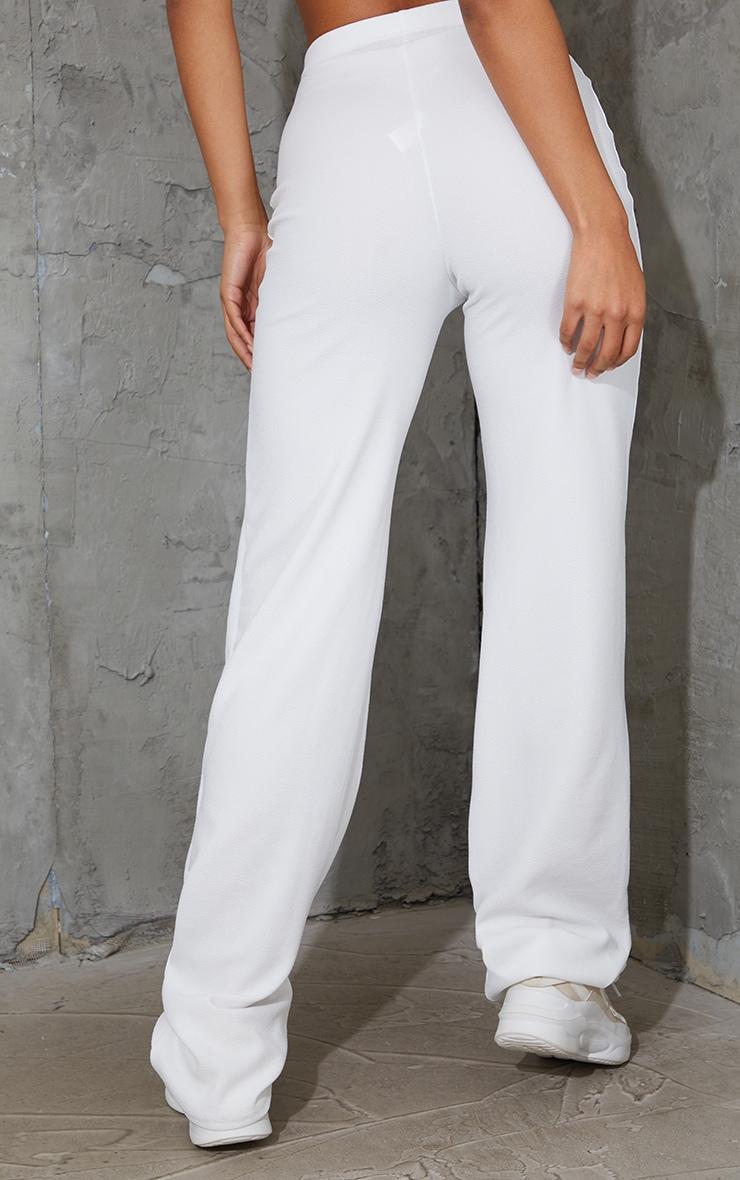 White Crepe Seam Front Wide Leg Trousers 3
