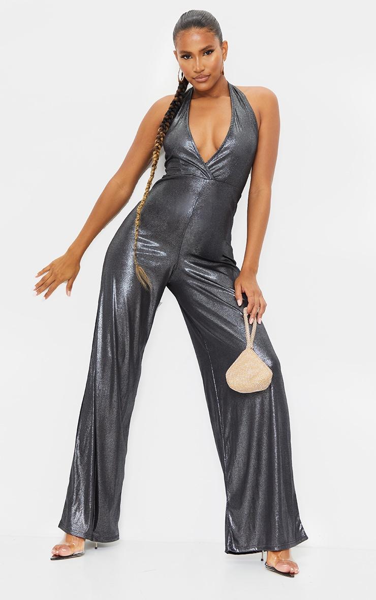 Silver Metallic Slinky Halterneck Wide Leg Jumpsuit 1