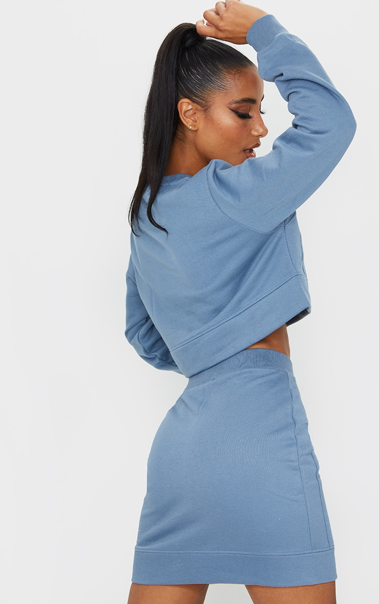 Blue Pocket Detail Cropped Sweater 2