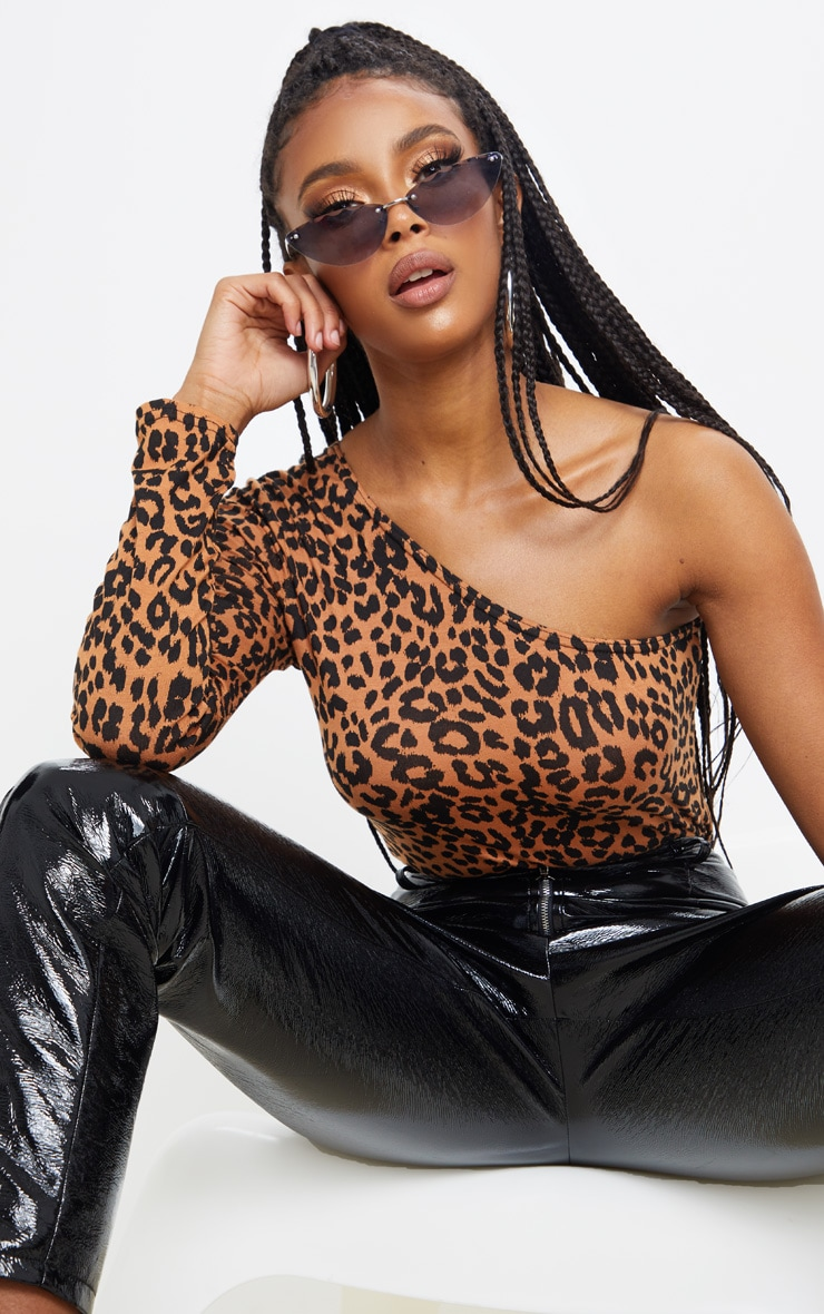 Tan Leopard Printed One Shoulder Jersey Long Sleeve Bodysuit 5