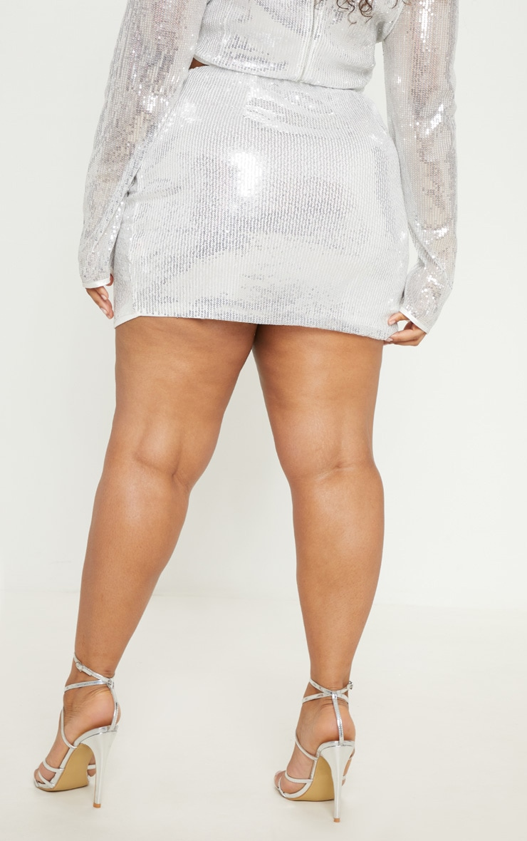 PLT Plus - Mini-jupe argentée à sequins 4